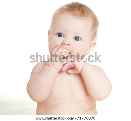 happy baby, on white background - stock photo