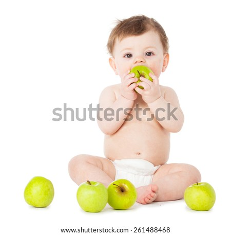 Happy baby with apple isolated on white - stock photo