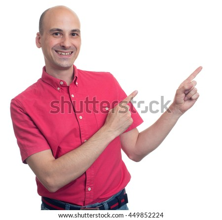happy bald man pointing finger isolated on white background