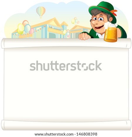 Happy Bavarian Guy with Beer Stein. Oktoberfest Background with Tents. Cartoon Illustration - stock photo