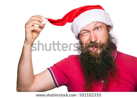 Happy bearded happy man with red hat and t-shirt, studio shot. isolated on white background.