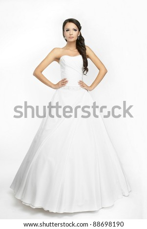 Happy beautiful bride white background up cloth, white - stock photo