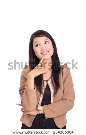 happy beautiful business woman thinking looking up , isolated on white - stock photo