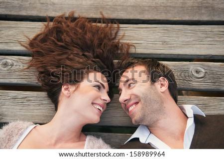 Happy beautiful couple in love - stock photo
