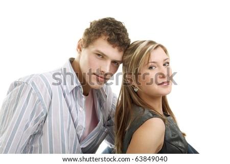 happy beautiful couple in studio - stock photo
