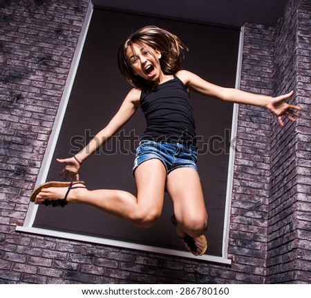 Happy beautiful cute girl having fun - stock photo
