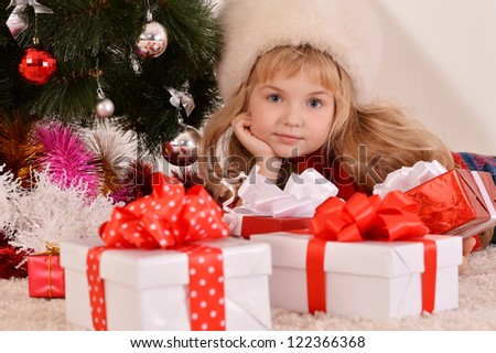 happy beautiful girl celebrating New Year at home - stock photo