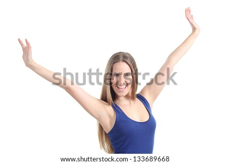 Happy beautiful girl with her arms raised isolated on a white background - stock photo