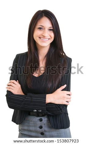 Happy beautiful hispanic business female with arms crossed smiling isolated on white background.