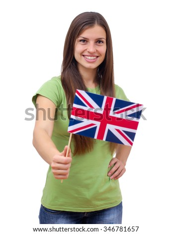 Happy beautiful student female with British flag.