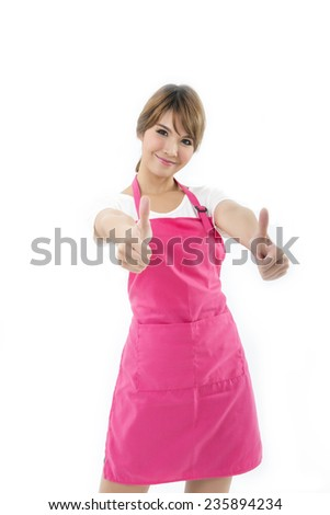 happy beautiful woman cook on white background  - stock photo