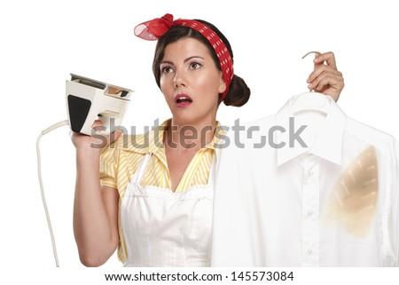 happy beautiful woman housewife ironing a shirt on white - stock photo