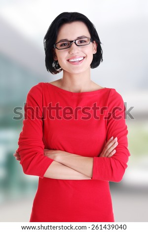 Happy beautiful woman in casual clothes. - stock photo