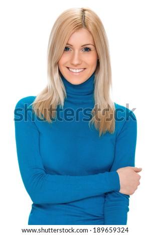 Happy Beautiful Woman Smiling Isolated On White Background - stock photo
