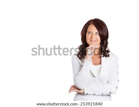 happy beautiful woman thinking looking up - stock photo