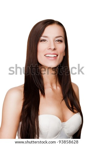 Happy beautiful woman with health skin of a face - isolated on white background