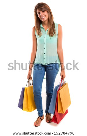 Happy beautiful woman with shopping bags - stock photo