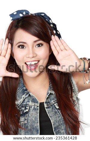 Happy beautiful young girl shouting isolated on white background - stock photo