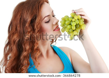 Happy beautiful young woman. Healthy lifestyle. Healthy eating. - stock photo