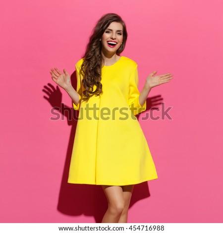 T bags yellow dress 3 quarter