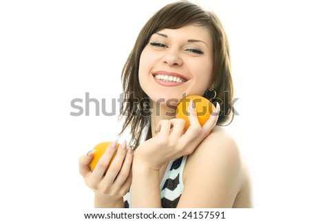 happy beautiful young woman with oranges in her hands