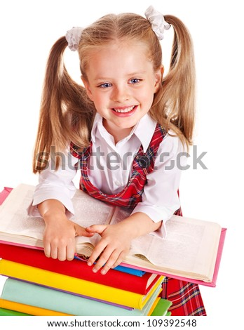 Happy beauty child with stack book. Isolated.