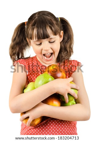 happy beauty little girl, hold apple and smile, on white background, isolated