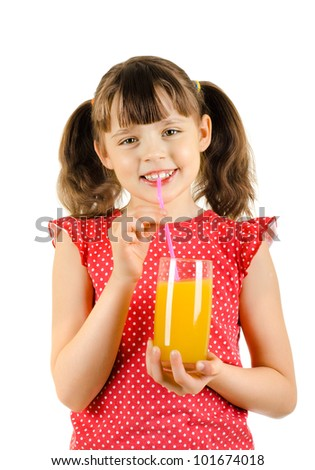 happy beauty little girl, hold glass with multifruit juice and smile, on white background, isolated - stock photo