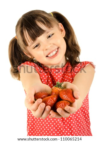 happy beauty little girl, hold  strawberries and smile, on white background, isolated - stock photo