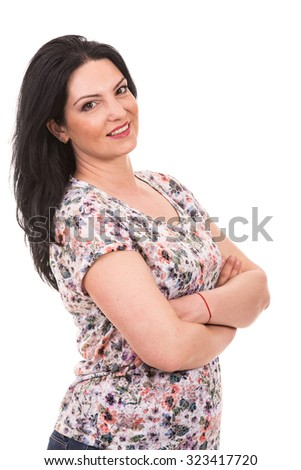 Happy beauty woman posing with arms folded isolated on white background - stock photo
