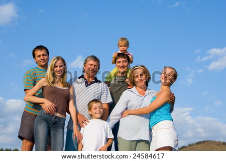 Happy big family - stock photo