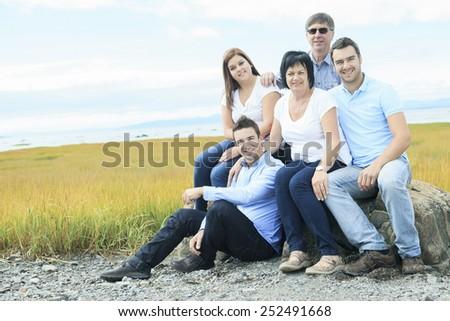 Happy Big Family Outdoor - stock photo