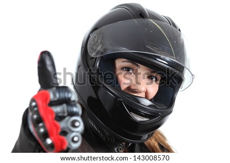 Happy biker woman with a road helmet and thumb up isolated on a white background - stock photo