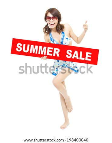 happy bikini girl holding a sign of  summer sale. It's time to go shopping - stock photo