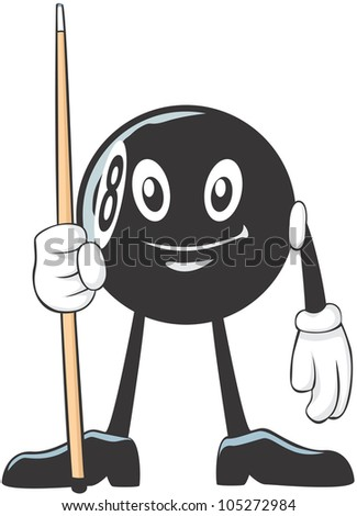 Happy Billiards Eight Ball Player Illustration - stock photo