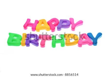 Happy Birthday alphabets isolated on white background - stock photo