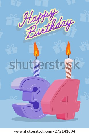 Happy Birthday. Announcement and Celebration Message Poster, Flyer Flat Style Age 34 - stock photo