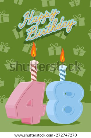 Happy Birthday. Announcement and Celebration Message Poster, Flyer Flat Style Age 48 - stock photo