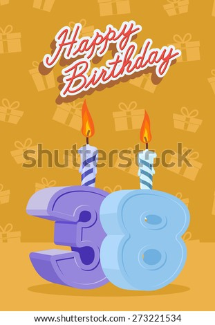 Happy Birthday. Announcement and Celebration Message Poster, Flyer Flat Style Age 38 - stock photo