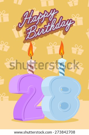 Happy Birthday. Announcement and Celebration Message Poster, Flyer Flat Style Age 28 - stock photo