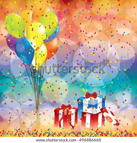 Happy birthday background with balloon and gifts