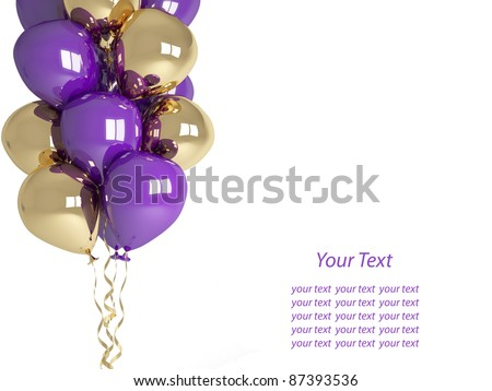 Happy birthday balloons isolated on white background. Celebration concept. 3d render. Isolated on white background. Greeting Card with place for your text. - stock photo