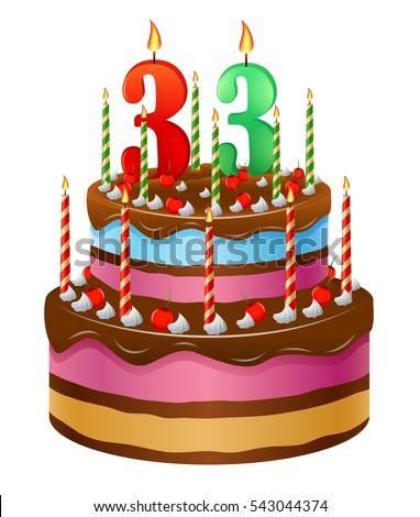 33 Birthday Stock Images Royalty Free Vectors Year Old Cake