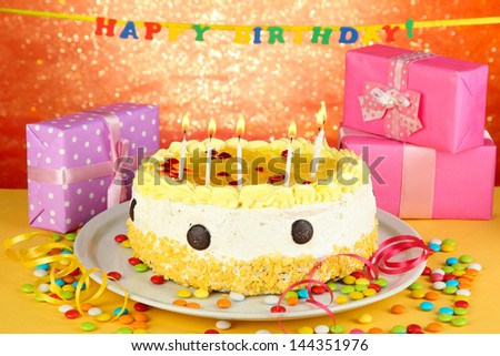 Birthday Cakes Gifts Images ~ Happy birthday cake gifts on red stock photo royalty free