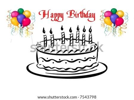 Happy birthday cake illustration - stock photo
