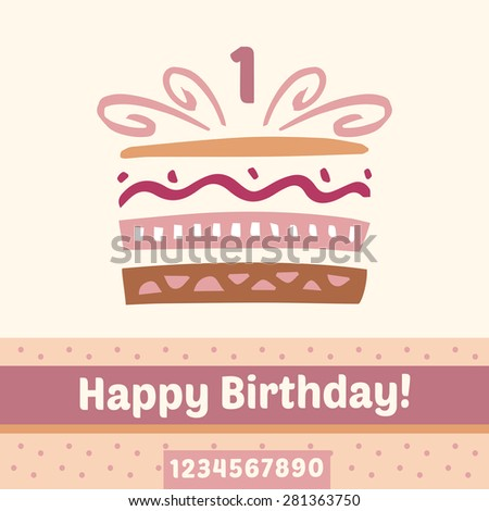 Happy Birthday cake, numbers.  card - stock photo