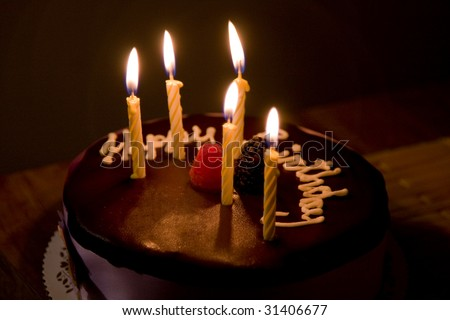 Happy Birthday Cake with Burning Candles - stock photo