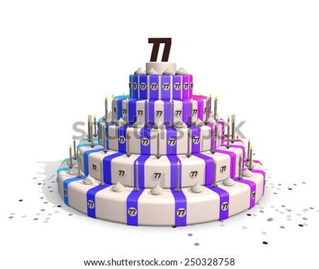 Happy birthday cake with candles and confetti, on top a chocolate number 77 - stock photo