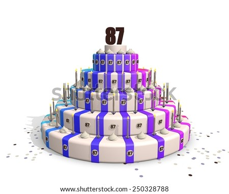 Happy birthday cake with candles and confetti, on top a chocolate number 87 - stock photo