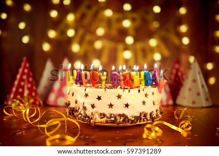 Happy Birthday Cake Candles On Background Stock Photo Safe to Use